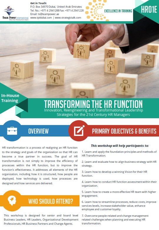 Transforming The HR Function | TPIwebsite